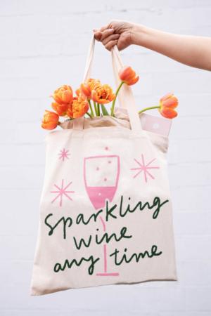 Sparkling Wine Anytime Cursive Tote Bag